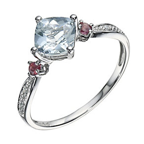 9ct White Gold Aquamarine Pink Tourmaline & Diamond Ring - Product number 9247858