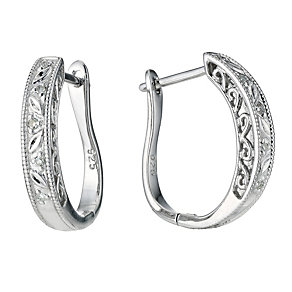 Sterling Silver Diamond Hoop Earrings - Product number 9248005