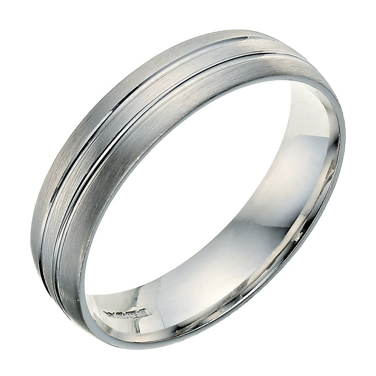 9ct white gold 5mm double groove wedding ring - Product number 9249958