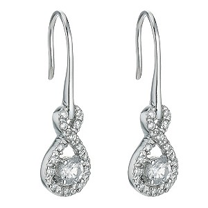 Silver figure of 8 cubic zirconia drop earrings - Product number 9252398