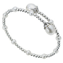Silver & Cultured Freshwater Pearl Bangle - Product number 9252827