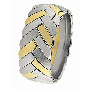 Royal Duet 18ct gold two colour 10mm wedding band - Product number 9253122