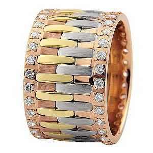 Royal Duet 18ct Three Colour Gold 0.84ct Diamond Ring - Product number 9253327