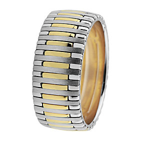 Royal Duet 18ct gold two colour 9mm wedding band - Product number 9253599