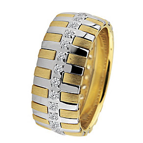 Royal Duet 18ct Two Colour Gold 0.44ct Diamond Wedding Band - Product number 9253742