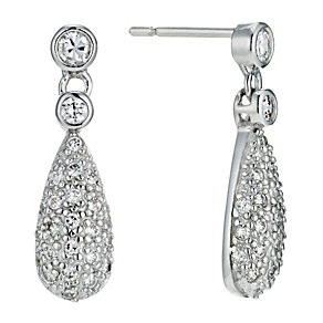Silver pave set cubic zirconia drop earrings - Product number 9254013
