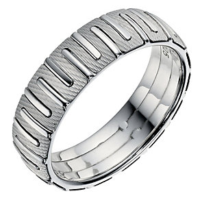 Sterling Silver Patterned Men's Band 6mm - Product number 9254846