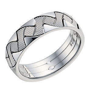 Silver Men's Patterned 6mm Wedding Band - Product number 9255036