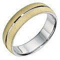 Bonded Silver & 9ct Yellow Gold 6mm Men's Band - Product number 9256970