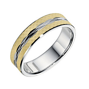 Bonded Silver & 9ct Yellow Gold 7mm Patterned Grooms Ring - Product number 9257578