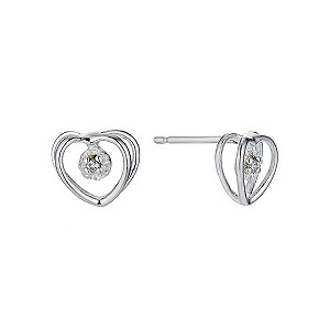 Silver & cubic zirconia heart stud earrings - Product number 9258329