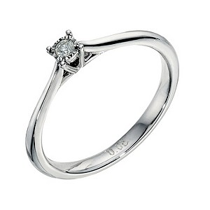 9ct white gold diamond illusion set solitaire ring - Product number 9259074