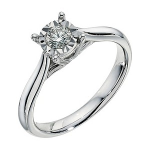 9ct white gold 1/4 carat diamond illusion solitaire ring - Product number 9259600