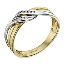 9ct yellow & white gold diamond wrap over ring - Product number 9259732