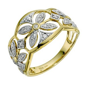 9ct yellow gold diamond filigree ring - Product number 9259864