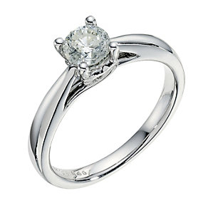 9ct white gold 0.66ct solitaire diamond ring - Product number 9259996