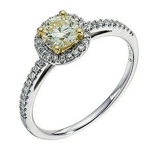 18ct yellow & white gold lemon diamond halo ring - Product number 9260269