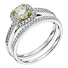 18ct white & yellow gold lemon & white diamond bridal set - Product number 9260781