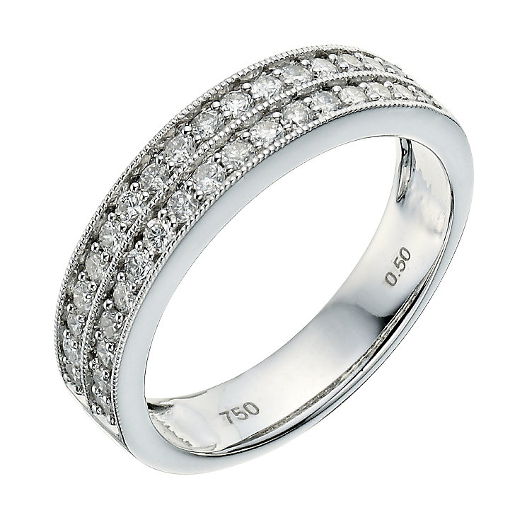 18ct white gold half carat diamond two row wedding ring - Product number 9261451