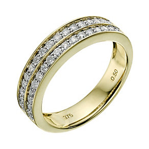 9ct yellow gold two row half carat diamond ring - Product number 9261583