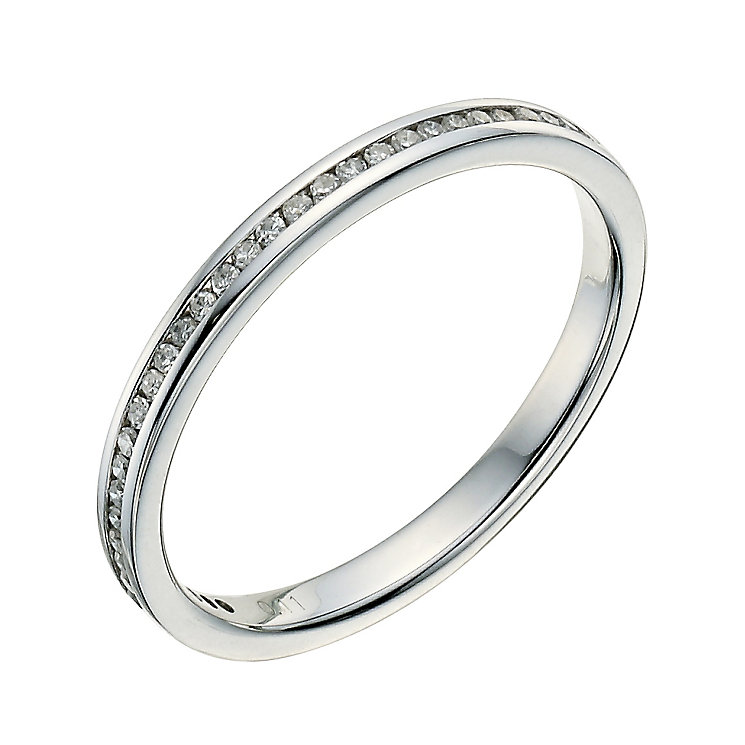 9ct White Gold Channel Set 10 Point Diamond Wedding Ring