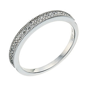 9ct white gold round pave set 0.20pt diamond ring - Product number 9261850