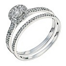 9ct white gold 1/3 ct round cluster bridal set - Product number 9262377