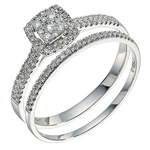 9ct white gold 1/3 ct diamond bridal set - Product number 9262504