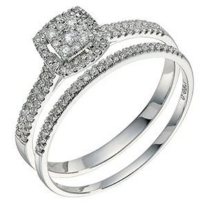 9ct white gold 0.33ct diamond bridal set - Product number 9262504