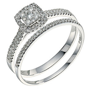 9ct white gold 0.33ct diamond bridal set - Product number 9262504