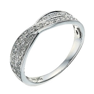18ct white gold crossover 0 25ct wedding ring