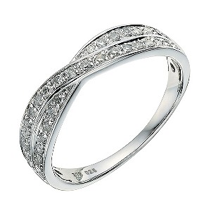 9ct white gold crossover 1/4 carat diamond wedding ring - Product number 9263225