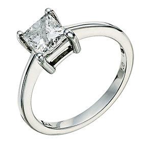 Platinum 1 carat princess cut diamond solitaire ring - Product number 9263632