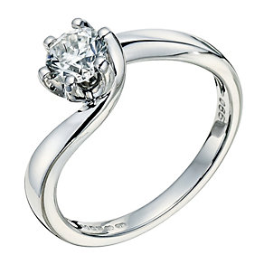 9ct white gold 0.66ct diamond solitaire ring - Product number 9263764