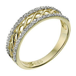 9ct yellow gold 0.15pt diamond filigree band - Product number 9264027