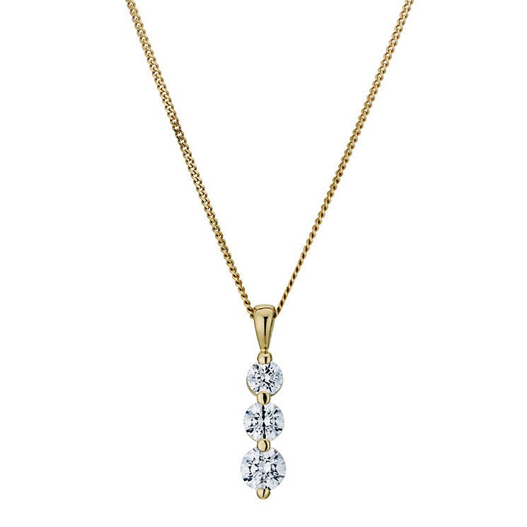 Silver & 18ct Gold Plated Trilogy Swarovski Zirconia Pendant - Product number 9265147