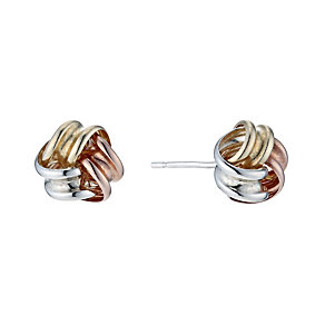 Silver, 9ct Yellow & Rose Gold Knot Stud Earrings - Product number 9265171