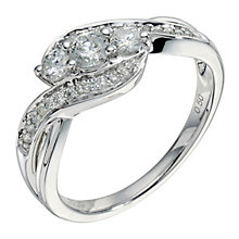 9ct white gold half carat diamond crossover 3 stone ring - Product number 9265333