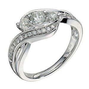 9ct white gold 2/3 ct diamond three stone crossover ring - Product number 9265465