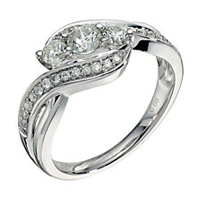 9ct white gold 0.66ct diamond three stone crossover ring - Product number 9265465