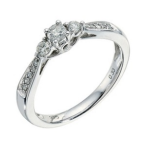 9ct white gold 1/3 ct diamond three stone ring - Product number 9265643