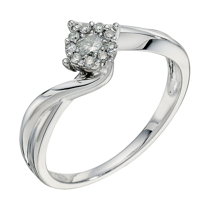 9ct white gold 0.25ct diamond twist cluster ring - Product number 9265953