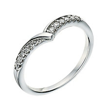 9ct white gold diamond set wishbone shape ring - Product number 9266666
