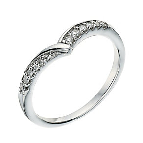 9ct white gold diamond set wishbone shape ring - Product number 9266666