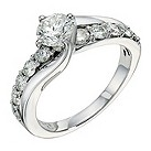 18ct white gold one and a half carat diamond ring - Product number 9267069