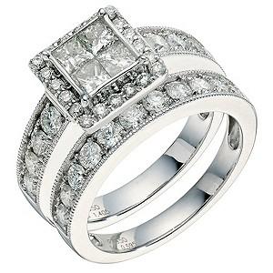 Platinum 2 carat diamond bridal set - Product number 9267190