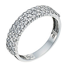 9ct white gold pave set cubic zirconia ring - Product number 9269290