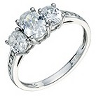 9ct white gold cubic zirconia 3 stone ring - Product number 9269614