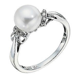 9ct white gold cultured freshwater pearl & diamond ring - Product number 9270264