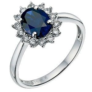 9ct white gold created sapphire cluster ring - Product number 9270663